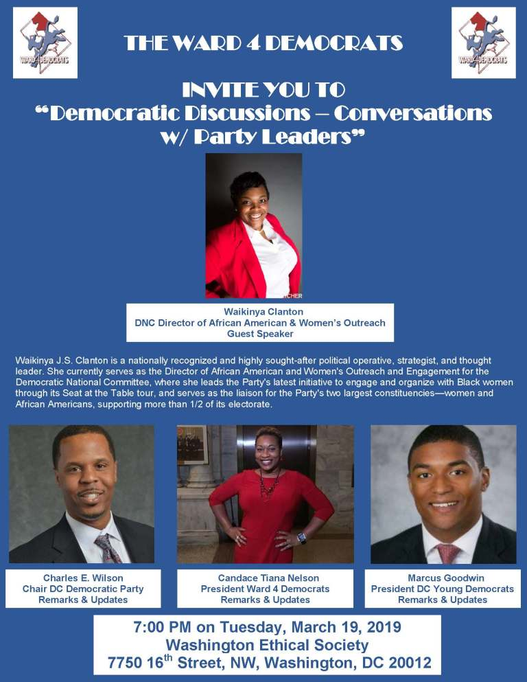 Leaflet for the March 2019 Ward 4 Dems Meeting, with photos of guest speakers